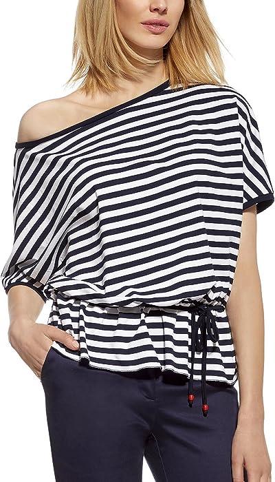 73291249132995 Ennywear 230099 Women's Striped Short Sleeved Kimono Blouse Boat Neckline  Marine Style - Made In EU, dark blue-white,10/12: Amazon.co.uk: Clothing