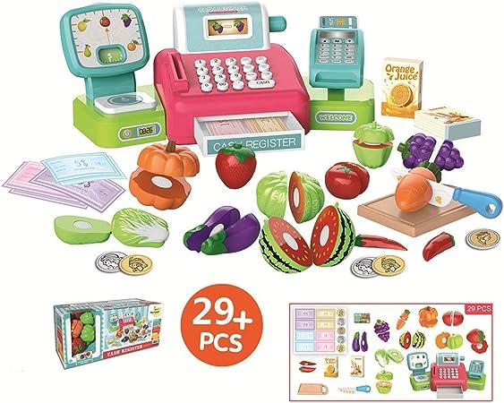 Juego de caja registradora para supermercado de juguetes para niños,Con calculadora Caja registradora de juguetes educativos, Micrófono, escáner, cesta de la compra,Cosplay puzzle niño y niña regalo: Amazon.es: Hogar