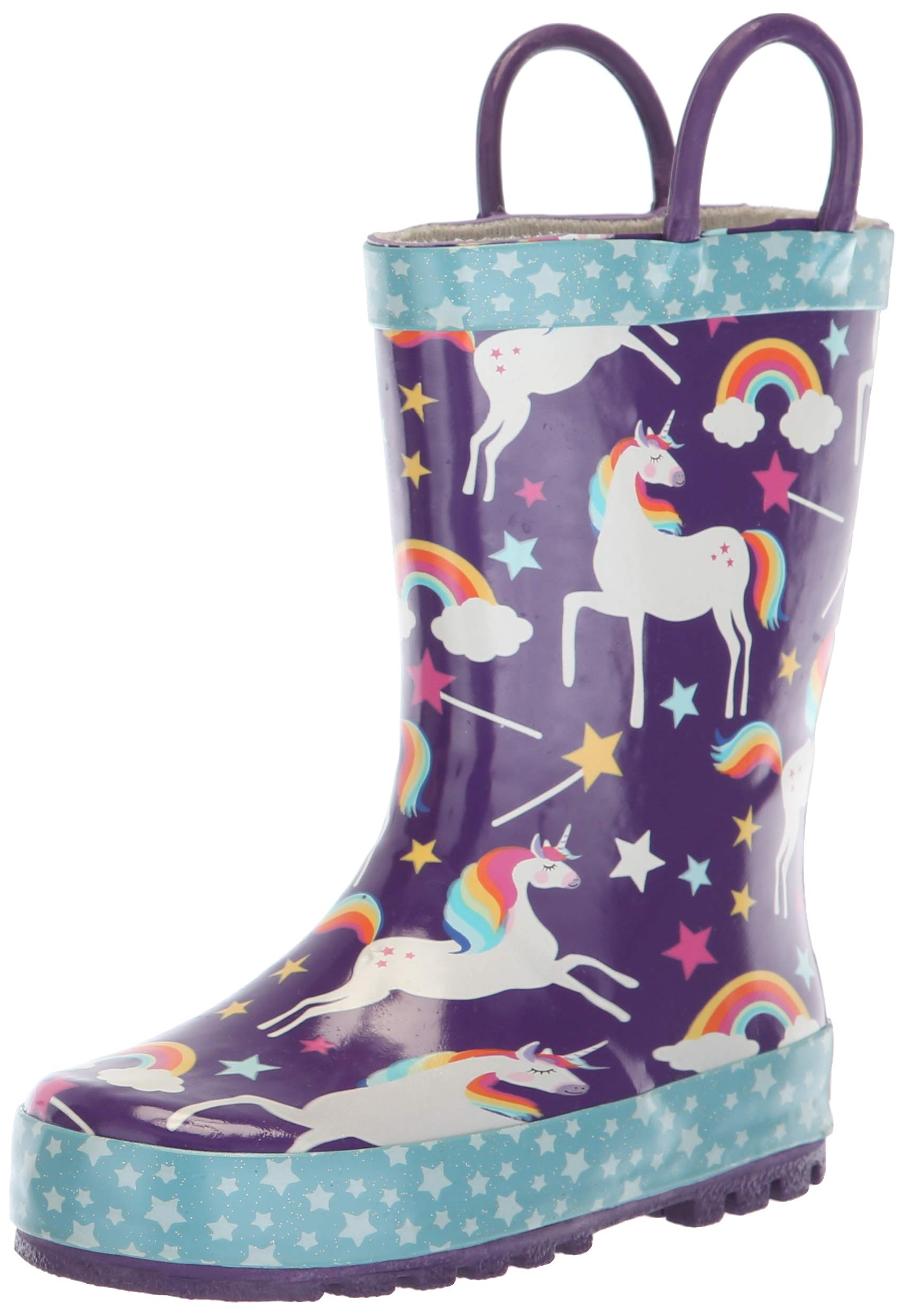 Western Chief Girls' Waterproof Printed Rain Boot with Easy Pull on Handles