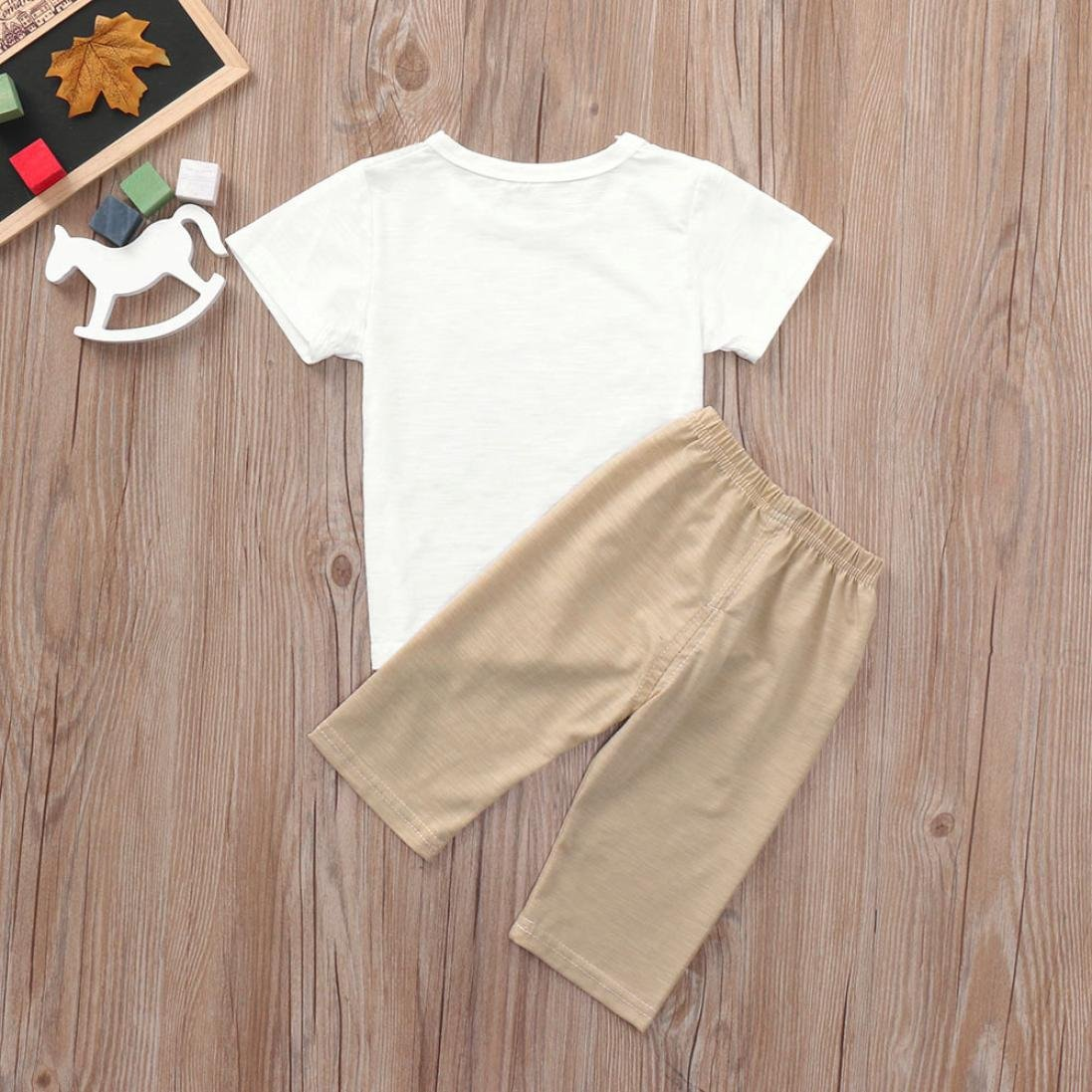 WARMSHOP Kids Baby Boys/&Girls Short Sleeve Cartoon Tree Printed Cotton Tops T-Shirt+Elastic Letter Pants Outfits Sets