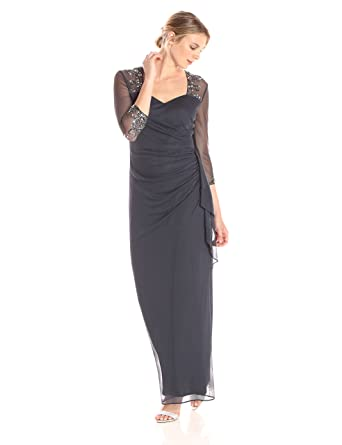 c75f3ebe37 Alex Evenings Women s Long Dress with Beaded Illusion Neckline at ...