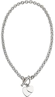 959137bbb Elements Silver 925 Ladies' Silver Heart Tag T-Bar Sterling Silver Necklace  41 cm