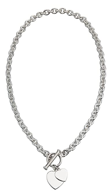 Elements Silver 925 Ladies' Heart Tag T-Bar Sterling Silver Necklace of 46 cm SphqMZCyM6