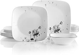 Corelle Service for 6, Chip Resistant, Fleurs du Soir Dinnerware Set, 18-Piece