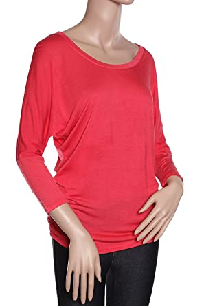 510fa5fd4ea3be Women's Basic Easy Fit Wide Neck Soft 3/4 Sleeves Tunic Top - Junior ...