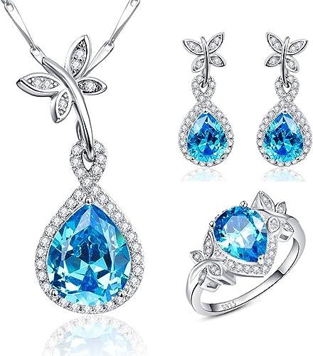 Ring Size K-L 925 Sterling Silver Red Teardrop Cubic Zirconia Jewellery Set
