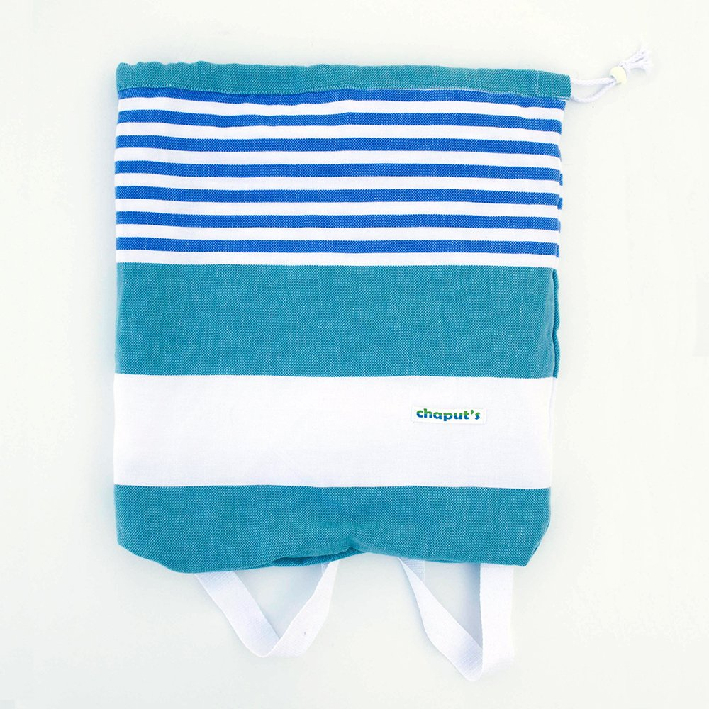 Birchwood Turkish Beach Towel/Bag, Green/Blue