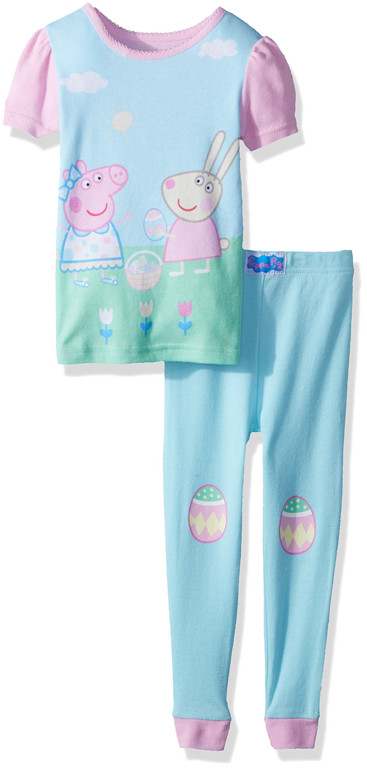 Peppa Pig Toddler Girls' Easter 2 Piece Cotton Set, Turquoise, 2T