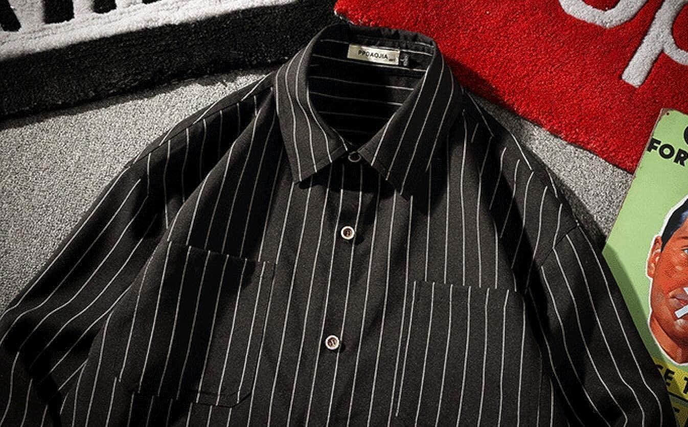 Alion Men Long Sleeve Casual Slim Fit Vertical Striped Blouse Button Down Shirt