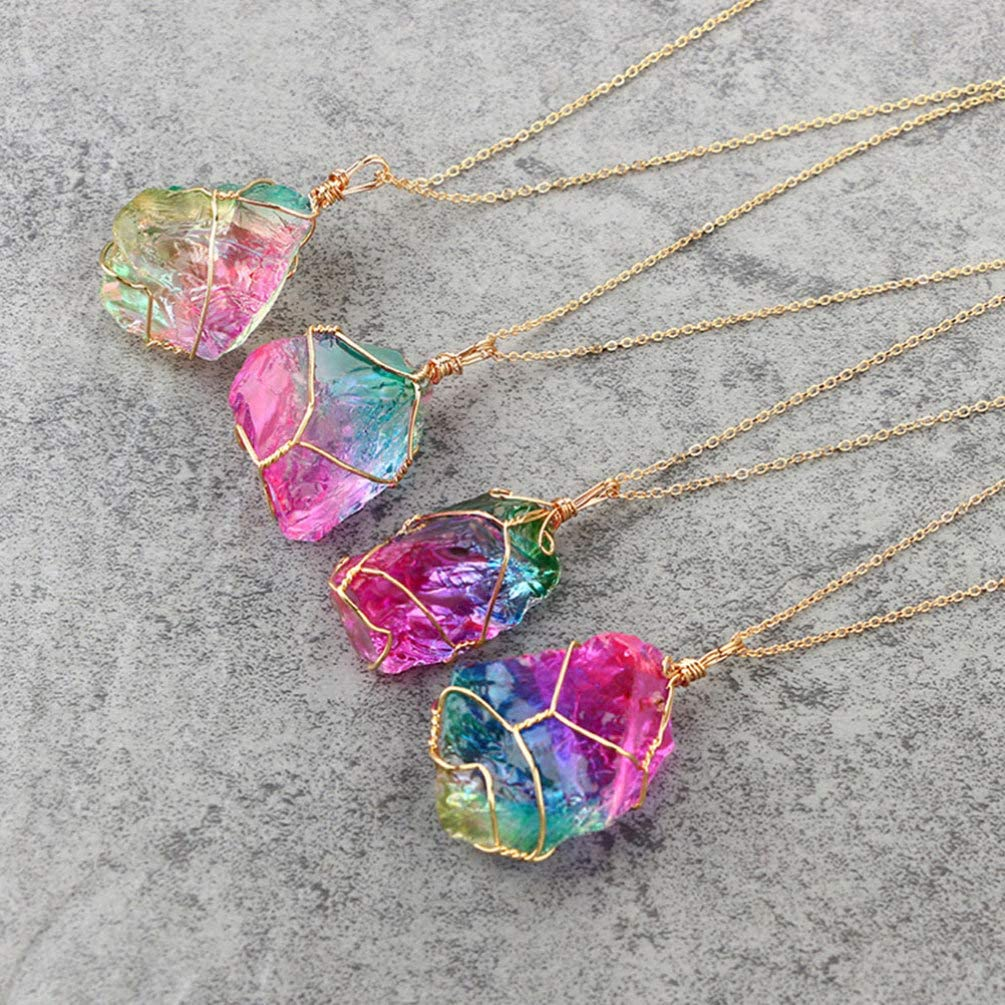 Holibanna Collar de Piedra Del Arco Iris Natural Collar de Piedra Chapado en Oro Collar de Cristal para Damas Mujeres Hombres Regalos Accesorios