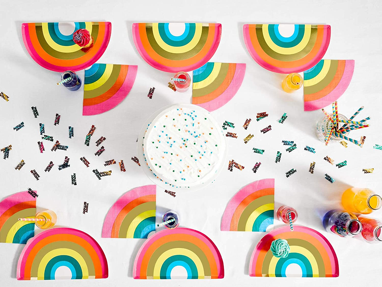 With Foil Talking Tables RAIN Rainbow Shaped Plate 12Pk Papier mehrfarbig