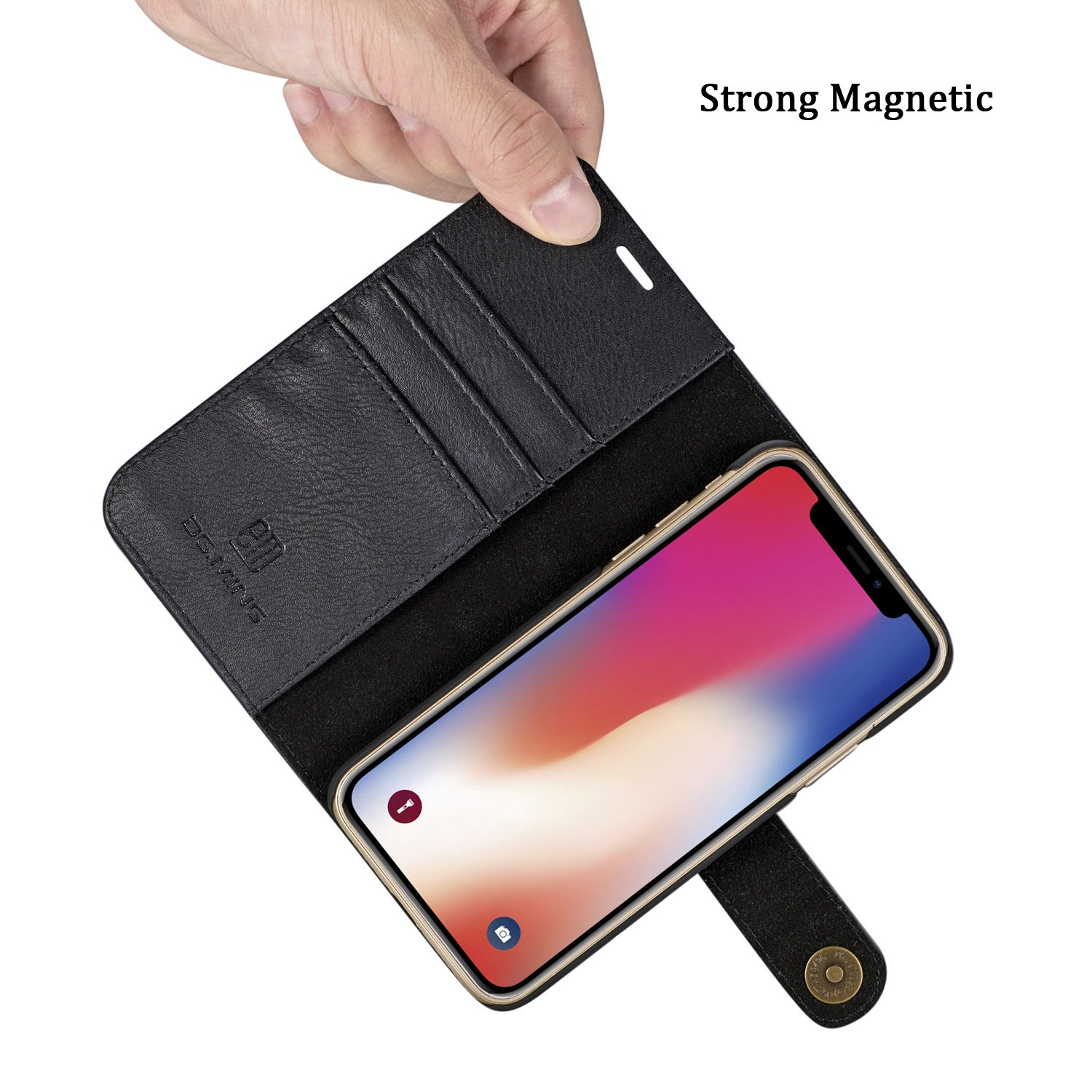 c5697ca71790 iPhone X/8/7/6+ Plus Leather Wallet Case Removable Magnetic Flip Cover with  Card Slots for Samsung S8/S8 Plus