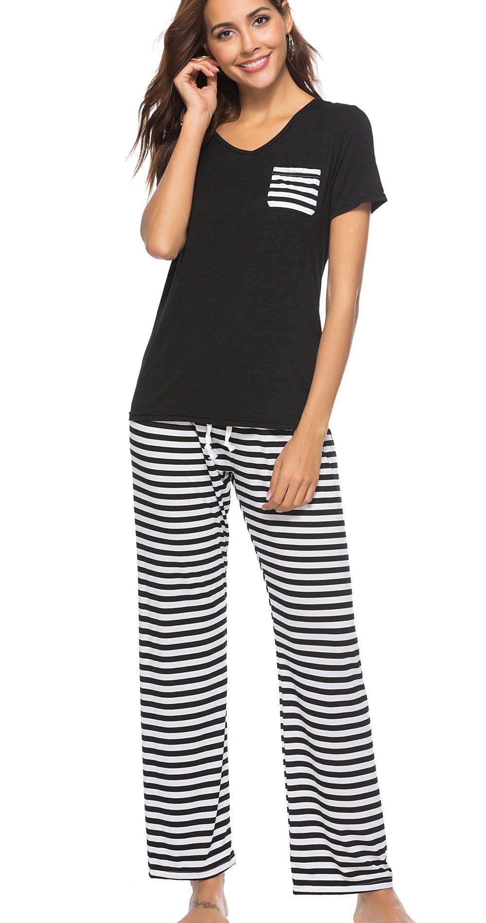Etosell Womens 2 Piece Pajama Set Short Sleeve Top Striped Pants Lounge Sleepwear Set (X-Large, Black)