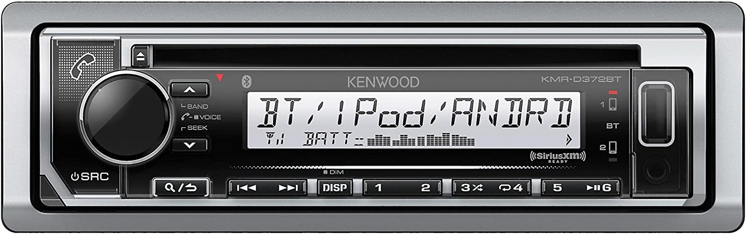 Kenwood KMRD372BT MP3 USB AUX Stereo Receiver CD Player W Weathershield Cover – Bundle Combo with Dash Trim Kit Handle Bar Conroller for 98-2013 Harley Motorcycles Enrock 22 Wired Antenna