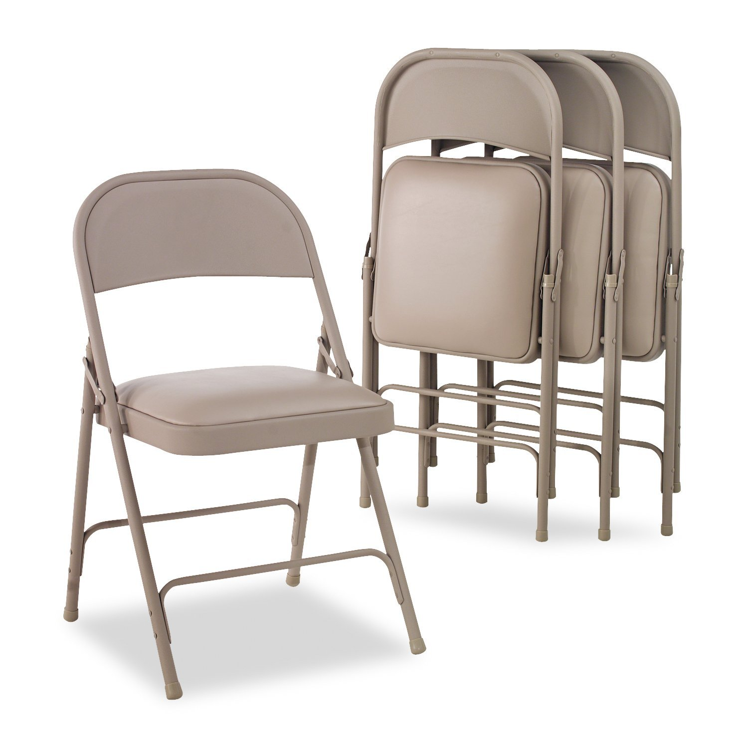 Amazon Alera Steel Folding Chair with Padded Seat Tan 4