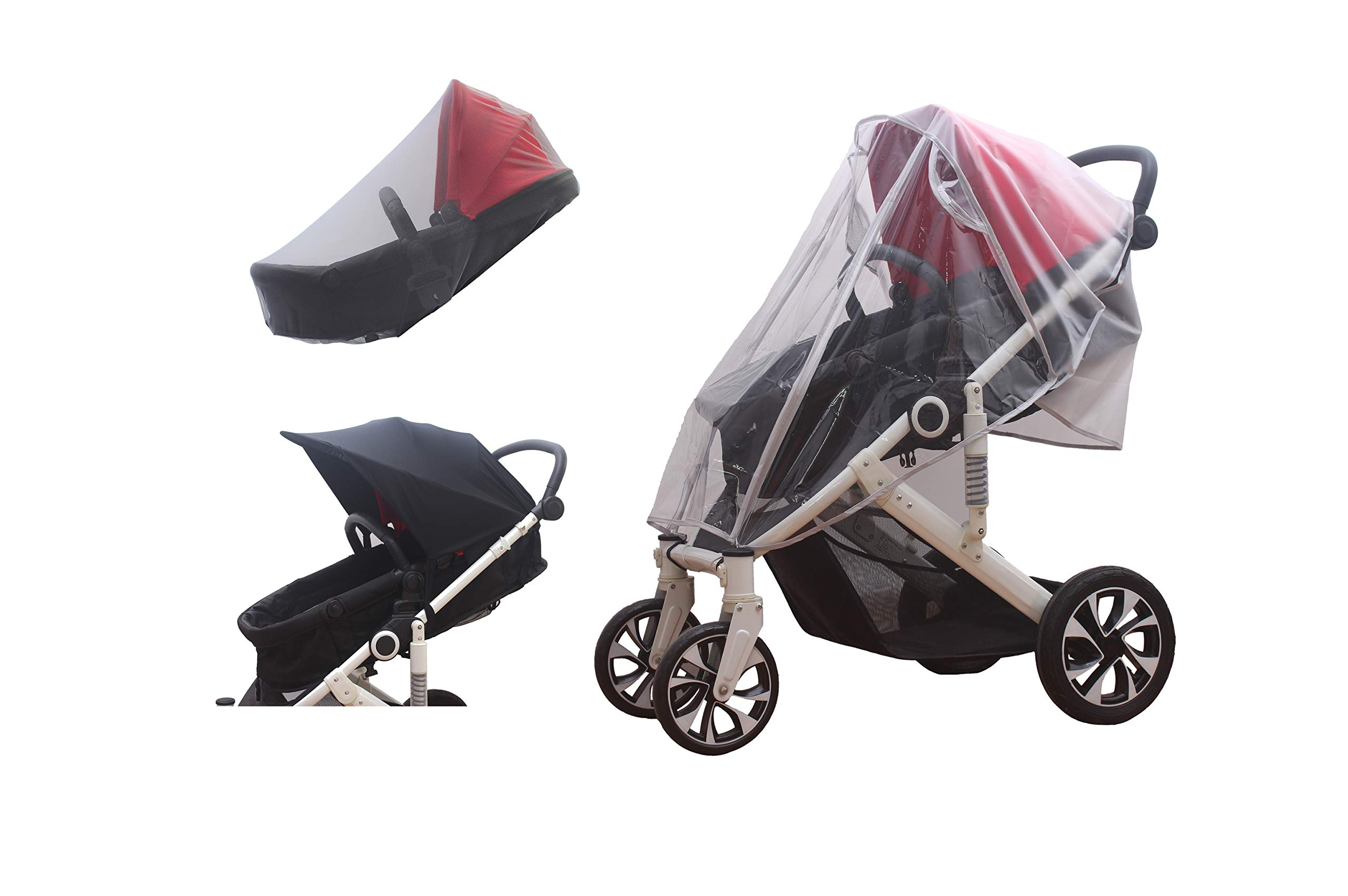 Universal Baby Stroller Rain Cover, Sun Shade Cover and Baby Mosquito Net (3-Piece Set)