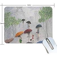 LEVEIS Summer Rain Paris - Alfombrilla de mouse de goma para el hogar y la oficina (9,8 x 7,5 pulgadas)