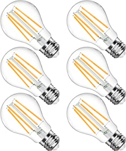 LANGREE A19 LED Light Bulb, 6W(Equivalent 60 Watt), 2700K Soft White, E26 Medium Base Led Bulb, Non-Dimmable, Standard Replacement, Pack of 6