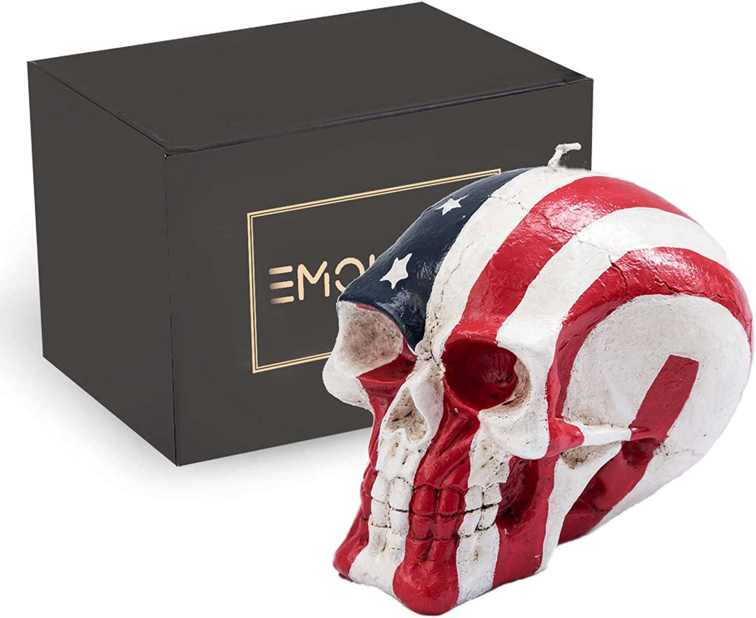 EMOHOME American Flag Skull Statue, Patriot, Decorative Candle for Halloween, Horror, Home Décor, Birthday Party, Festival, Novelty Gifts