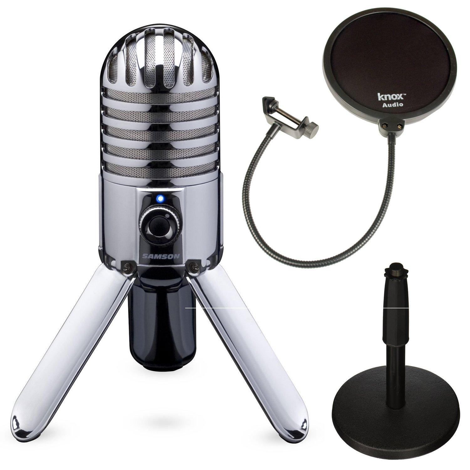 Samson SAMTR Meteor Mic with Adjustable Desk Mic Stand and Pop Filter by Samson