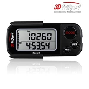 Realalt 3DTriSport Walking 3D Pedometer with Clip and Strap