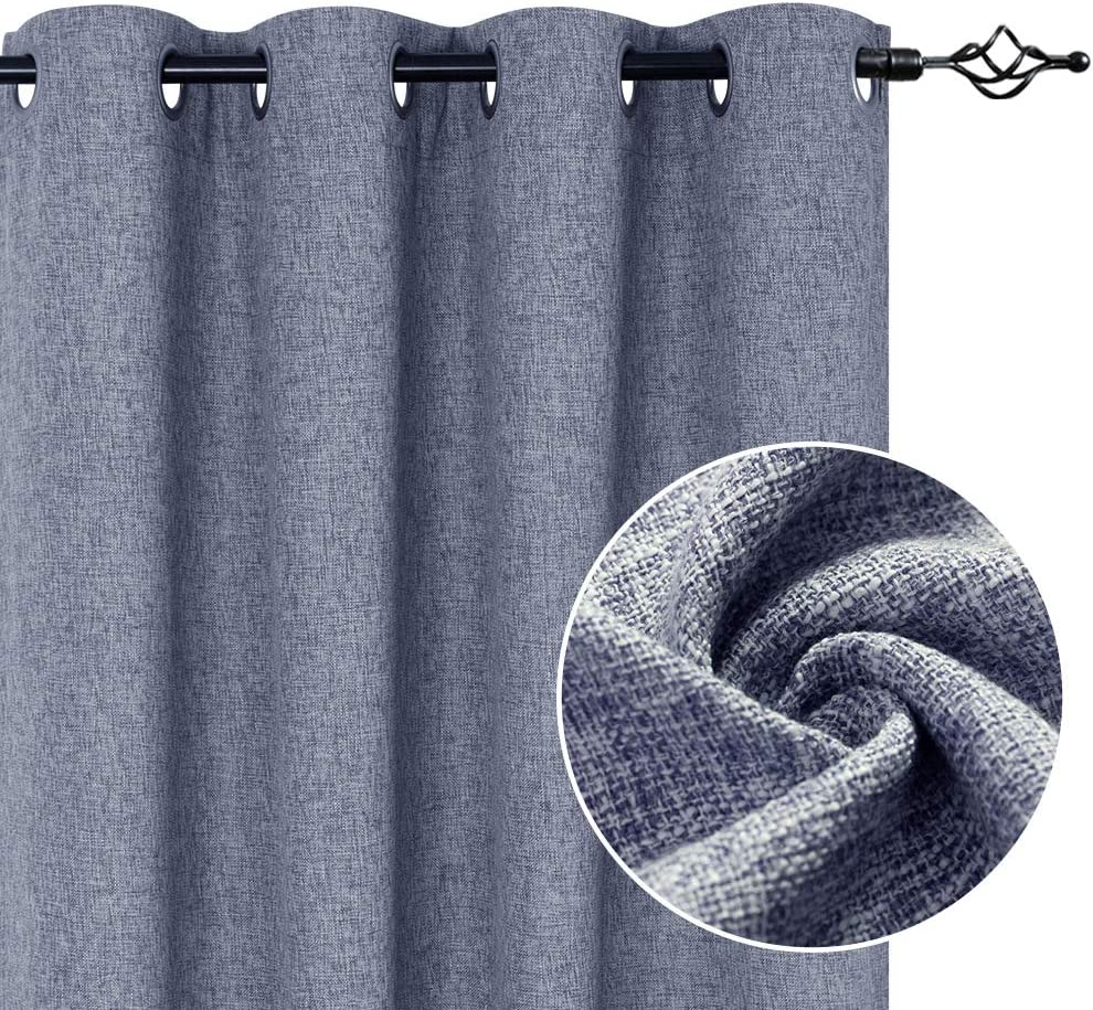 Flax Linen Textured Curtain Panels for Bedroom Blue Burlap Textured Light Filtering Living Room Window Drapes 84 Inches Length 2 Panels
