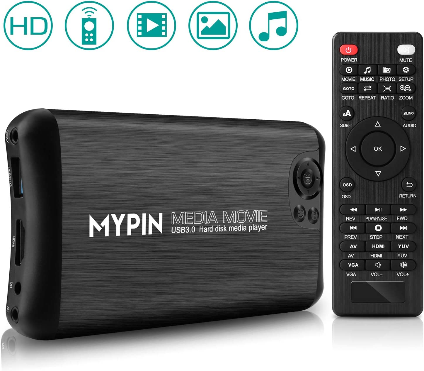 1080P Full HD Ultra Digital Media Player soporta salida HDMI/AV/VGA, reproducir vídeo y fotos con unidad USB/tarjetas SD, HDD/dispositivos externos (compatible con USB 3.0)(ENCHUFE REINO UNIDO)
