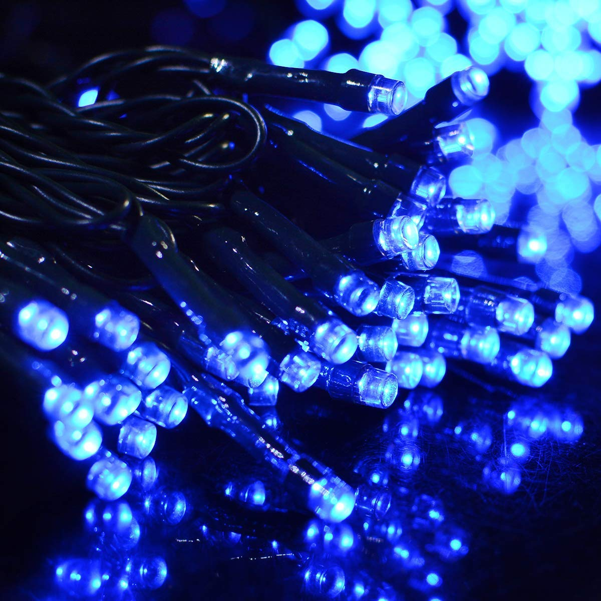 72Ft 200 LED Solar String Lights, Dolucky 8 Modes Christmas Fairy Light, Backyard Patio Powered Lights, Hanging Waterproof Indoor/Outdoor String Lights for Bistro Home Wedding Party Décor Xmas, Blue