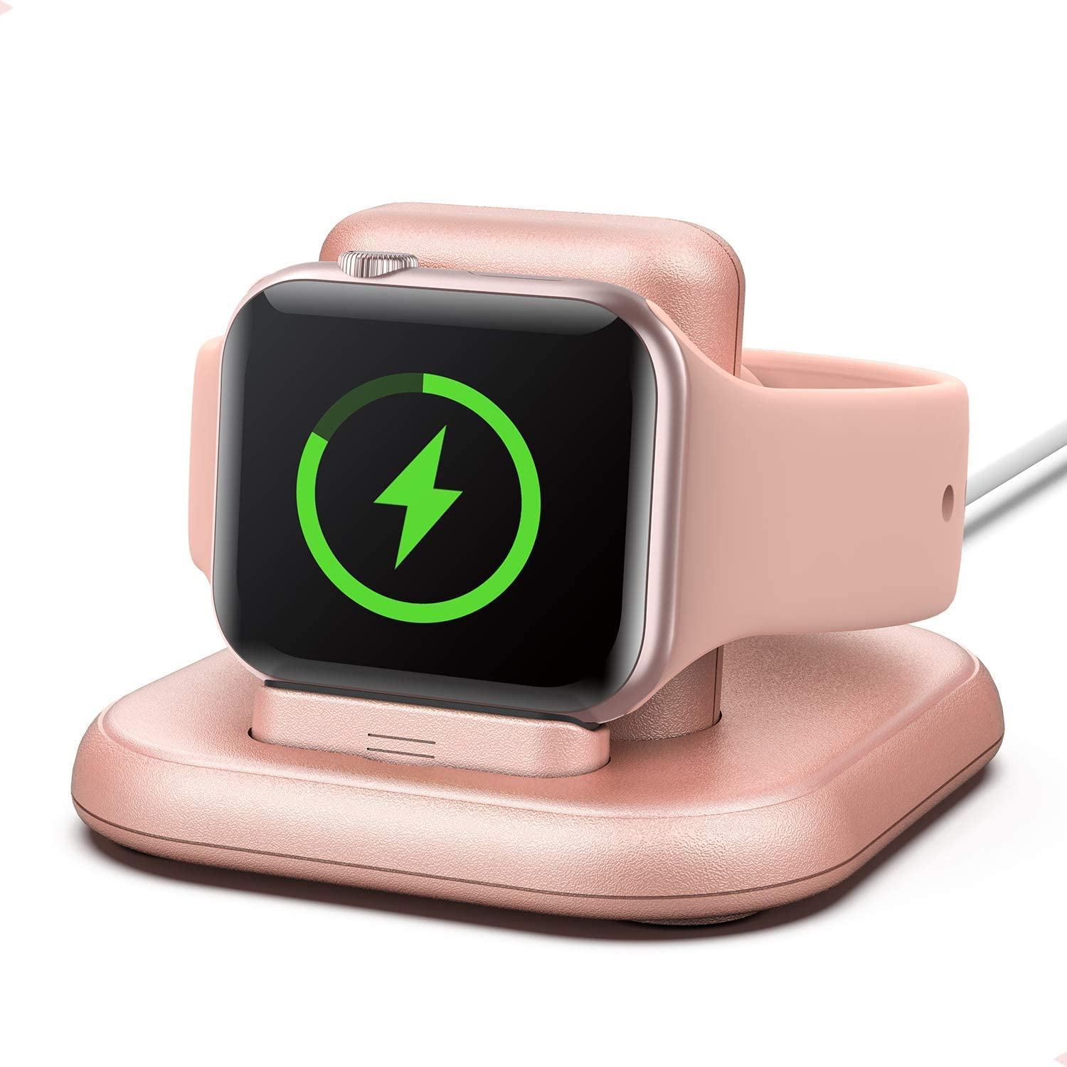 Conido Charging Stand for Apple Watch, Watch Charger Stand with Charging Cable, Magnetic Wireless Charging Station Compatible with Apple Watch SE Series 6/5/4/3/2/1/44mm/42mm/40mm/38mm- Rose Gold