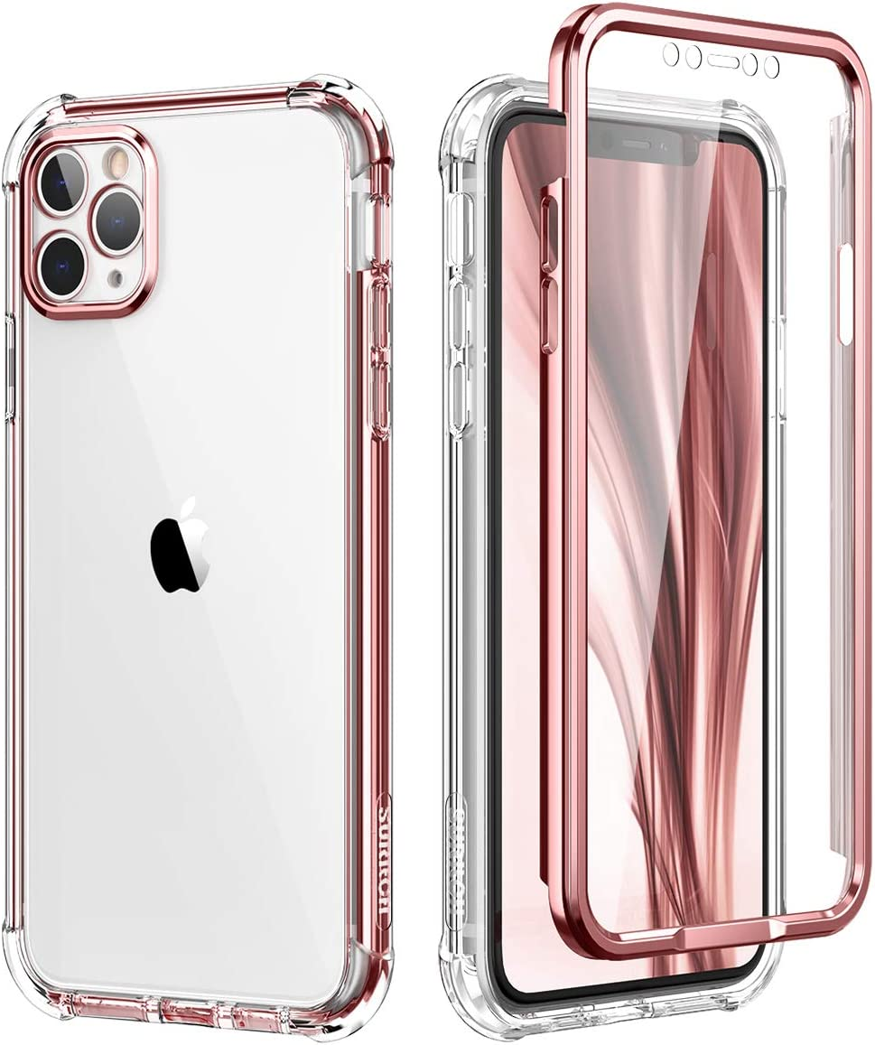 SURITCH Compatible with iPhone 11 Pro Max Clear Case,[Built in Screen Protector][Camera Lens Protection] Full Body Protective Shockproof Bumper Rugged Cover for iPhone 11 Pro Max 6.5 Inch (Rose Gold)