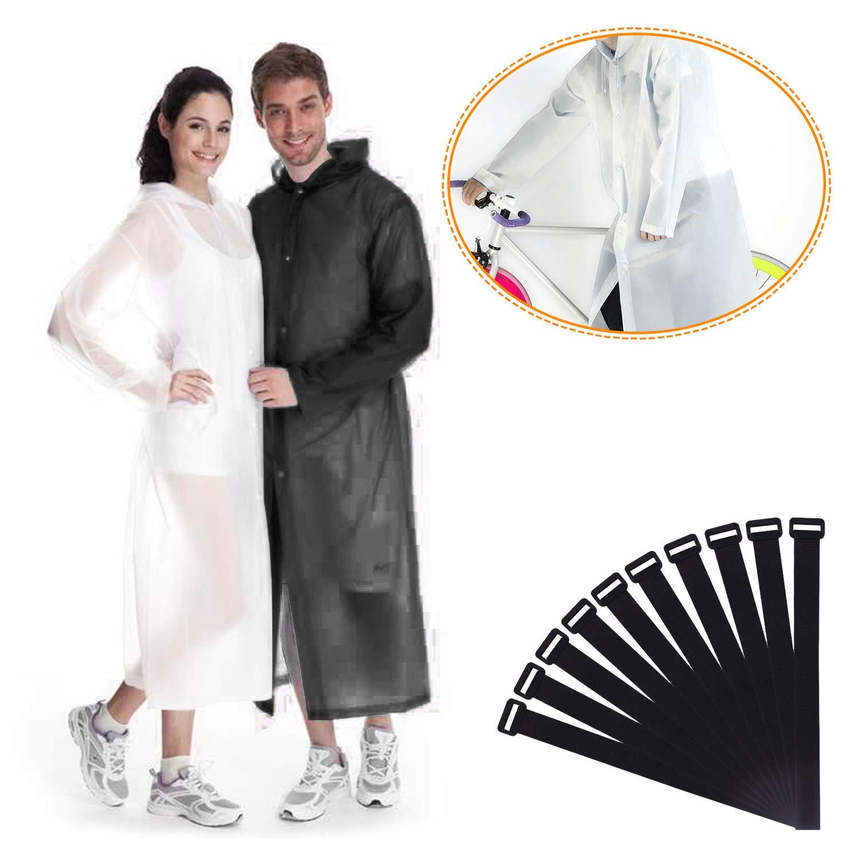 Raincoat, Rain Poncho, Rain Ponchos, Rain Wear, 2 Pack Translucent Raincoat Portable Lightweight Reusable Hoods Sleeves Adult Universal Size(160-190cm) Thick EVA