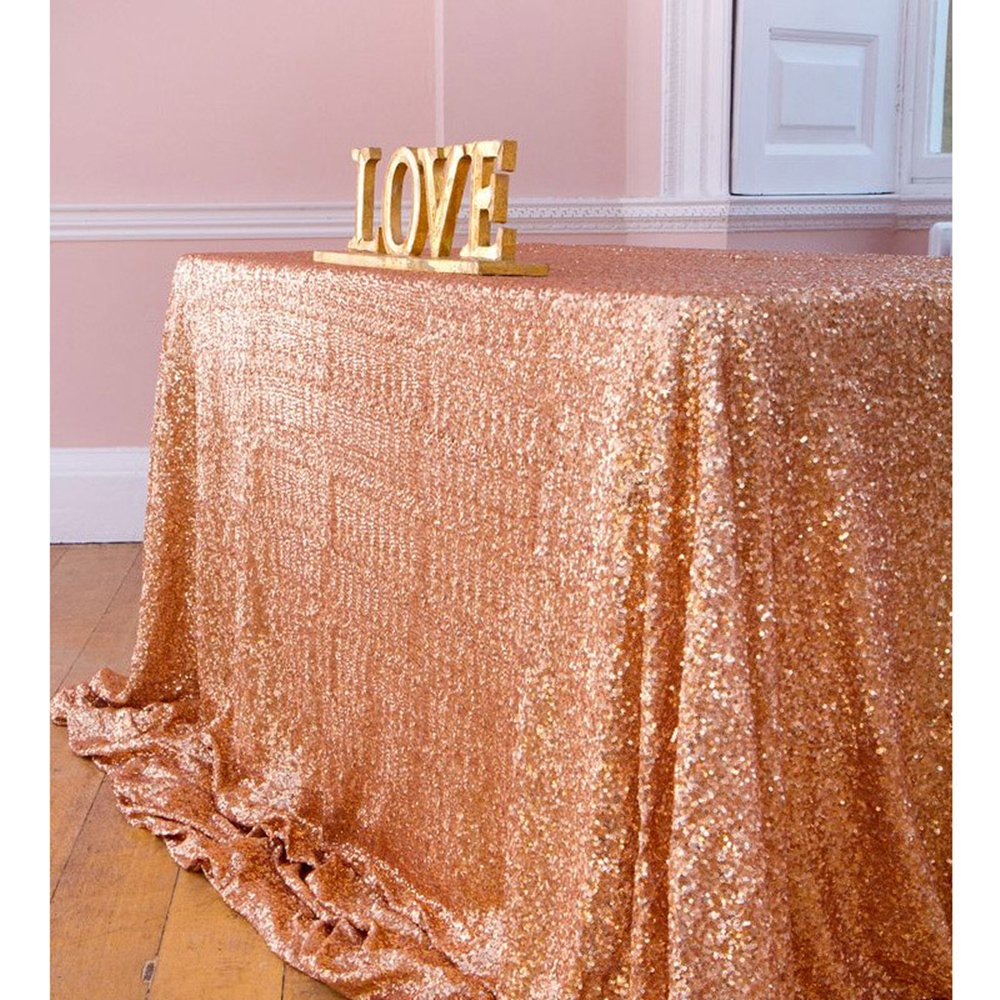 Sequin Table Clothes 50x102 inch Rose Gold Sequin Tablecloth Sequin Overlay Sparkle Table Decor for Wedding by SoarDream (Image #1)