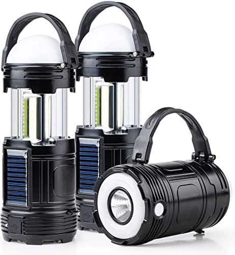 2 Pack Black 5 in 1 Solar USB Rechargeable 3 AA Power Brightest COB LED Camping Lantern with S Charging for Device, Waterproof Collapsible Emergency Flashlight LED Light