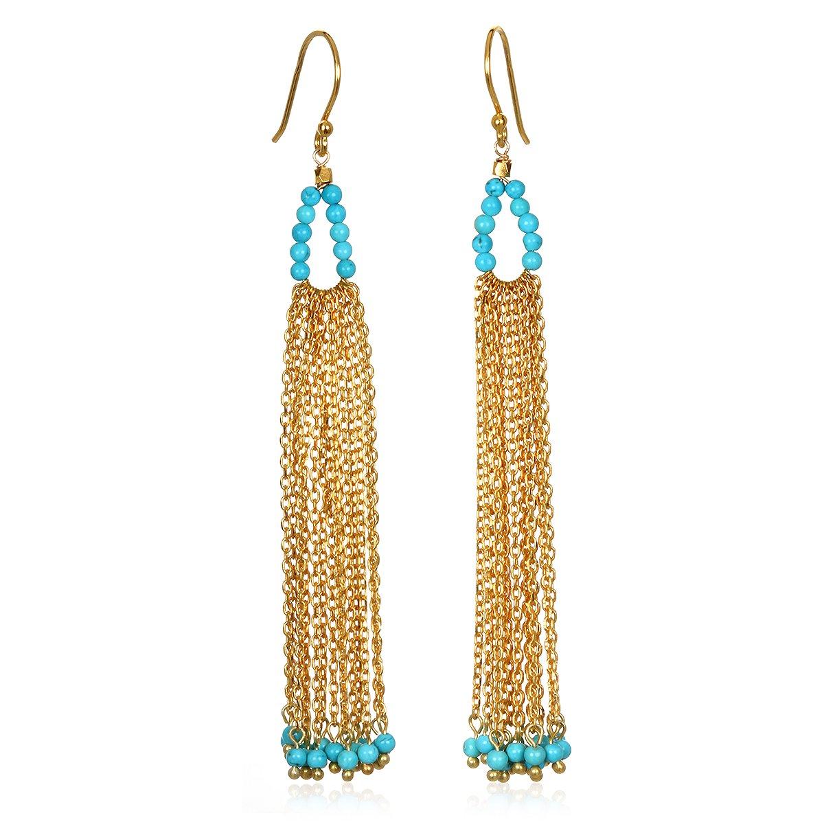 Satya Jewelry Turquoise Gold Plate Chain Tassel Drop Earrings