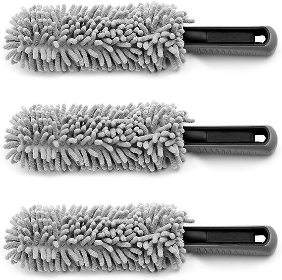 Monzana 3er Set Felgenbürste Aus Mikrofaser Mit Soften Borsten Schonend Weich Für Felgen Aller Art Reinigungsbürste Auto