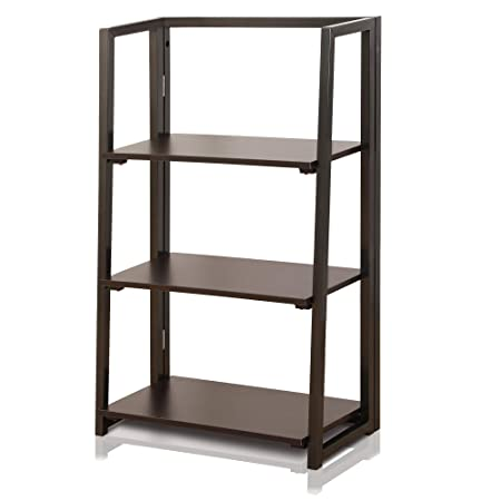 DELMANGO Folding Bookshelf Rack 3-Tier Portable Ladder Shelf No Assemble Industrial Stand Sturdy Organizer for Home Office,24 x 12.6 x 39 inches