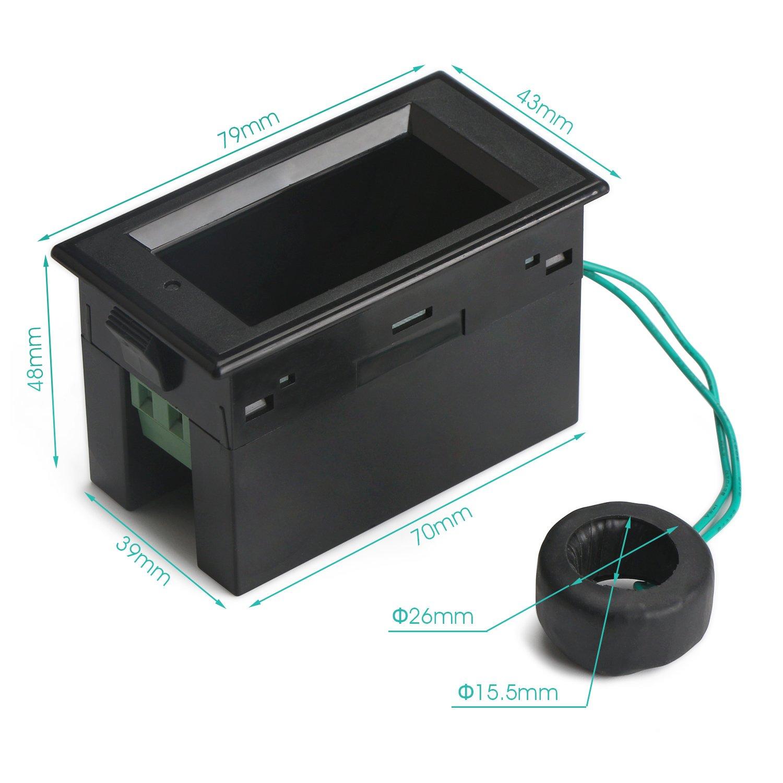 0 ~ 100A Volt/ímetro Amper/ímetro Alta definici/ón Colorido LCD Volt Amp AP Probador de energ/ía Volt/ímetro Amperio Monitor de corriente con CT Droking AC 80-300V Mult/ímetro de pantalla digital