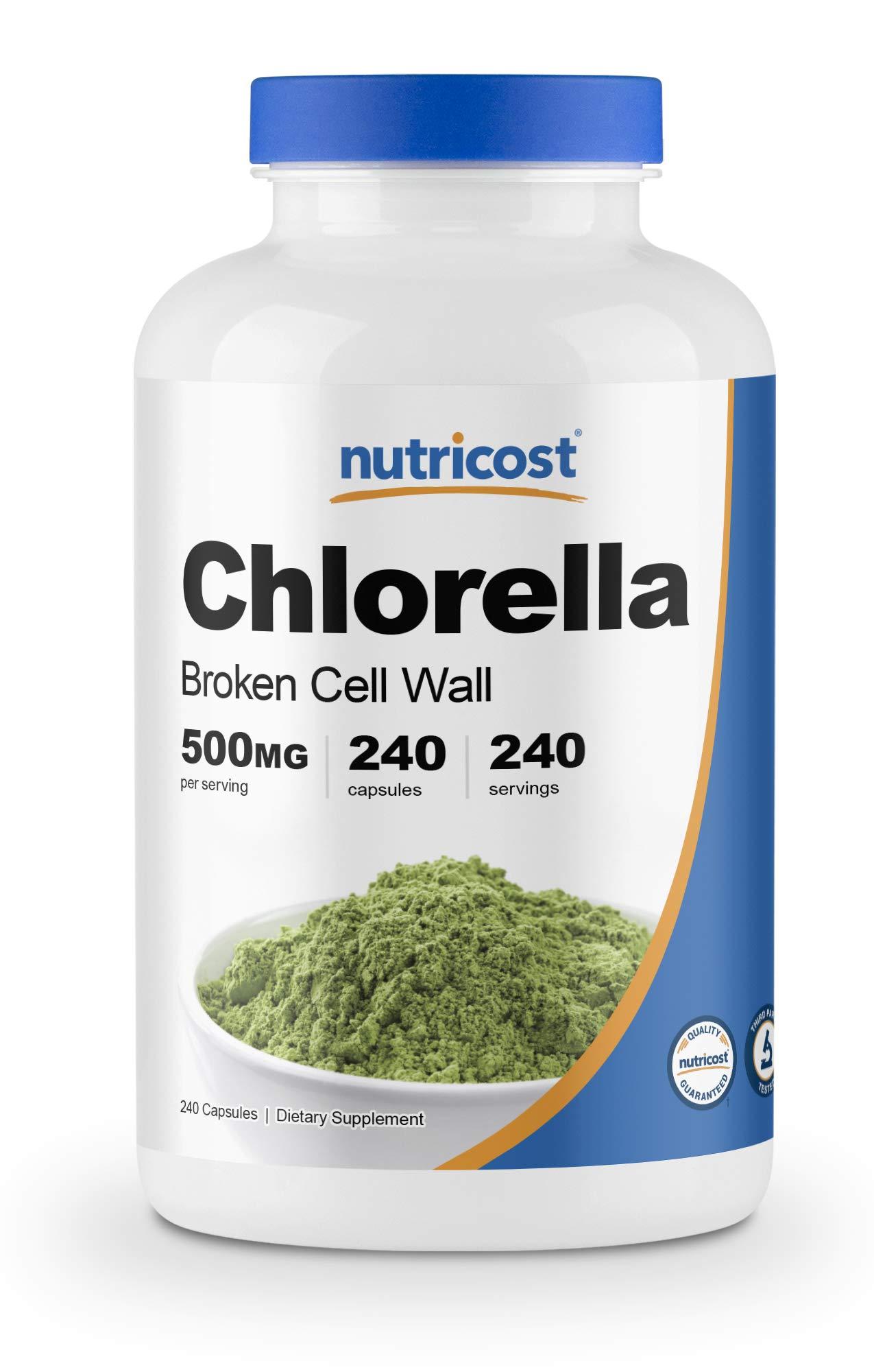 Nutricost Chlorella Capsules 500mg, 240 Vegetarian Capsules - Non-GMO and Gluten Free