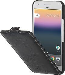 StilGut UltraSlim Case, Custodia di Pelle per Google Pixel Originale. Flip-Case Sottile Verticale in Pura Pelle, Nero