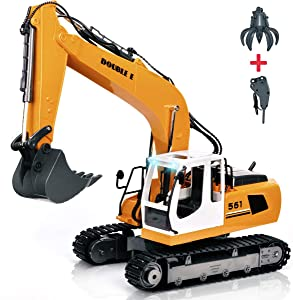 DOUBLEE 17 Channel Full Functional Remote Control Truck Metal Shovel RC Excavator with 2 Bonus Drill and Grasp