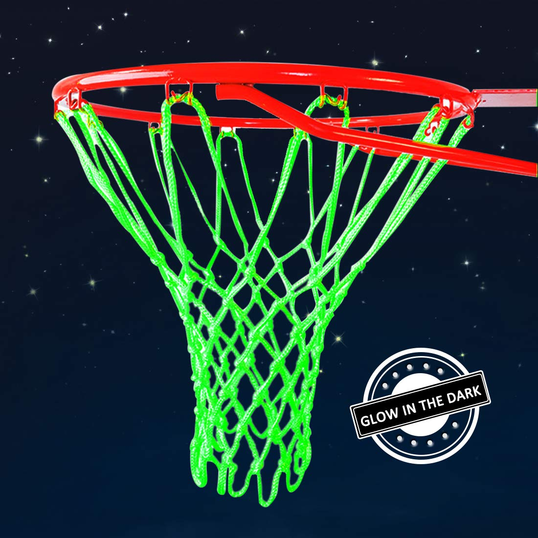 03505a9fc01b6 Demlor Basketball Rim Net Outdoor Sports Glow in The Dark Nylon Basketball  Hoop Net All Weather Thick Standard Basketball Net Replacement