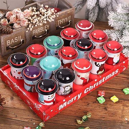 greatdaily - Juego de 12 tarros de Navidad Cuadrados de Metal, Cajas de Caramelos de Navidad, Caja de Regalo vacía, Retro, Caja de Almacenamiento para Chocolate, Caramelos: Amazon.es: Hogar