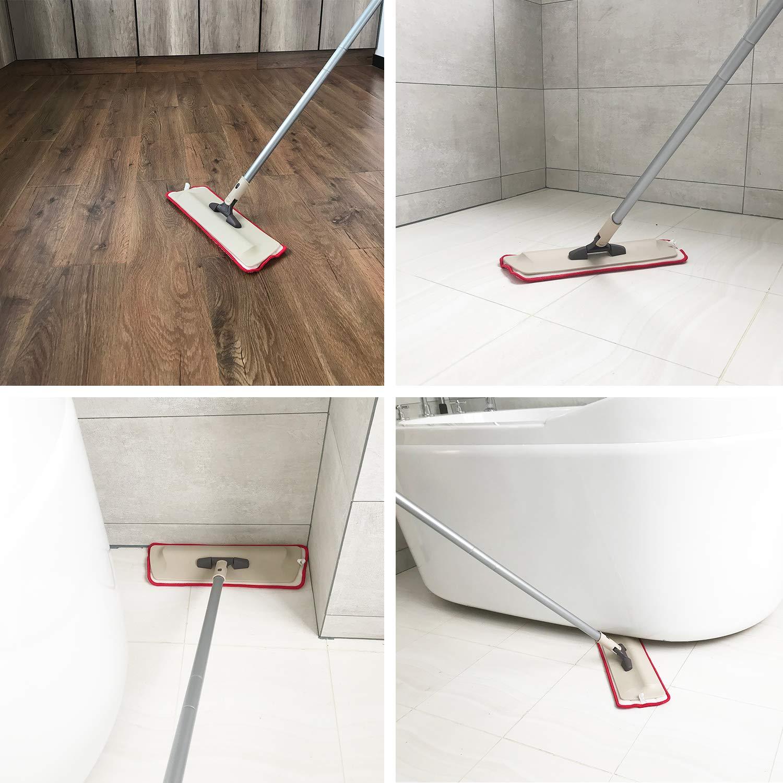Trapeador plano de microfibra para piso madera Almohadillas lavables para madera dura laminado y azulejo 360 trapeadores profesionales de microfibra de polvo reutilizable h/úmedo y seco