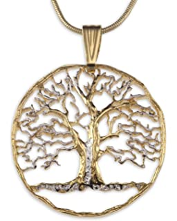 Amazon 10k yellow gold tree of life pendant necklace 18 jewelry tree of life pendant necklace by the difference world coin jewelry aloadofball Image collections