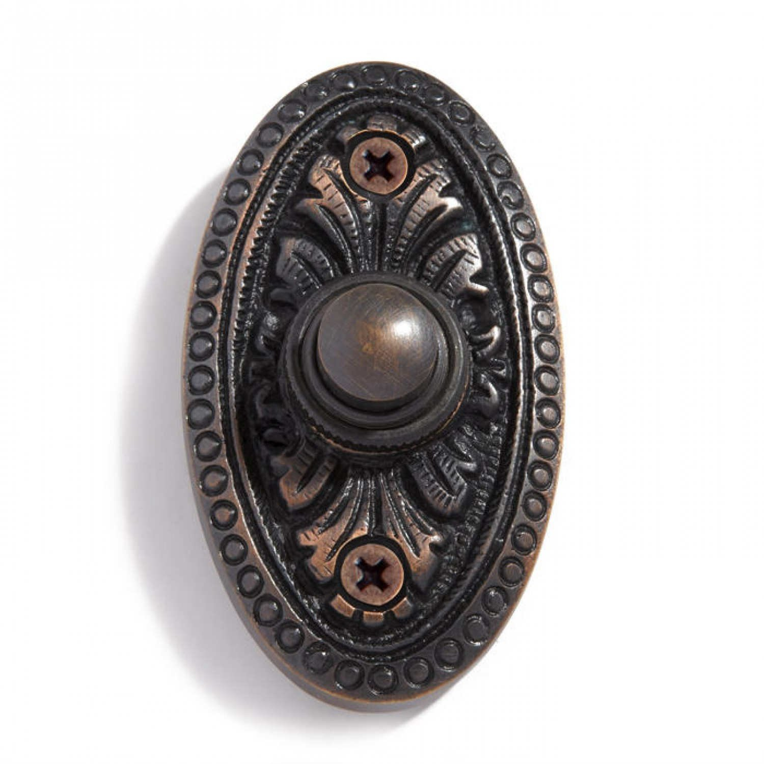 Casa Hardware Recessed Mounted Deep Style Solid Brass Oval Doorbell with Push Button in Oil Rubbed Bronze Finish
