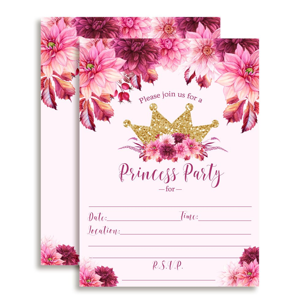 Watercolor Floral Princess Birthday Party Invitations with Pink and Burgundy Dahlias and Gold Glitter Crown, 20 5''x7'' Fill In Cards with Twenty White Envelopes by AmandaCreation