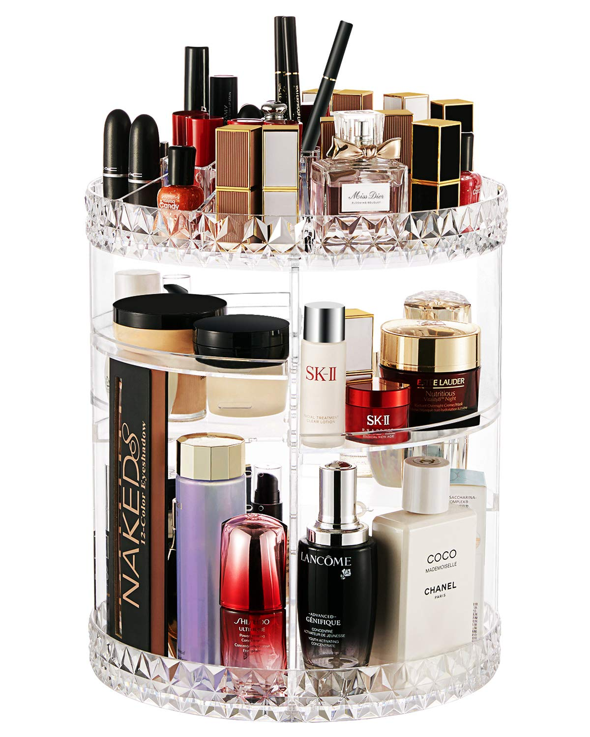 360 Rotating Makeup Organizer Adjustable Cosmetic and Beauty Holder Storage Display