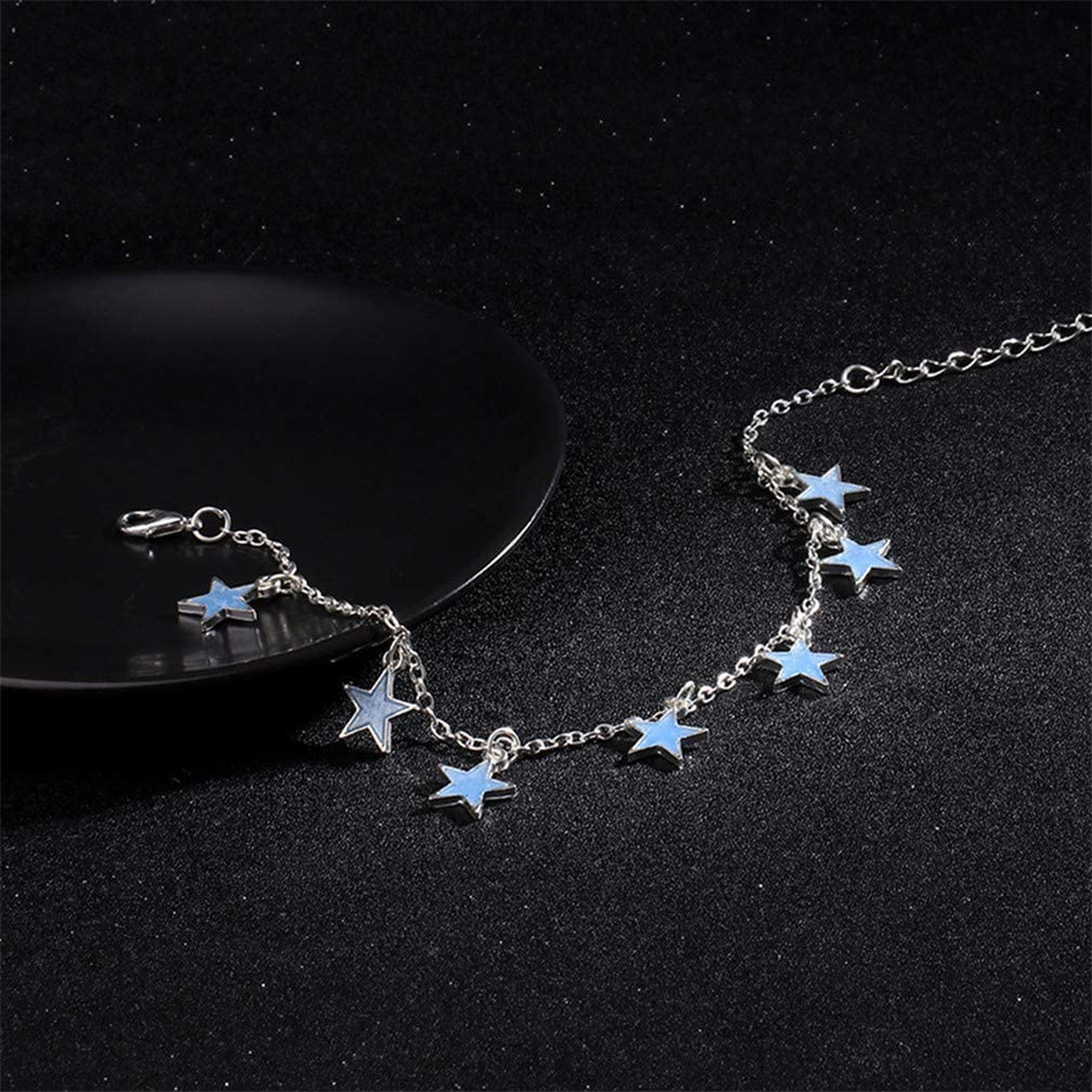 SONGLIN Luminous Anklet Beach Wind Blue Fluorescent Five-Pointed Star Tassel Anklet Foot Decoration