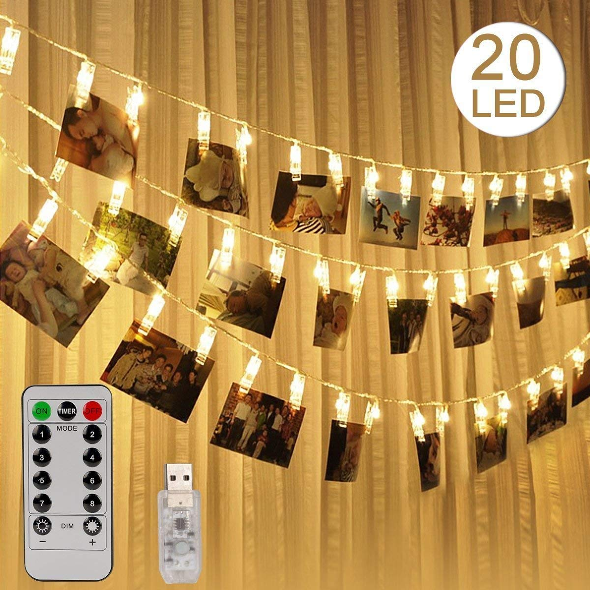 LED Photo Clip String Lights with Remote, USB Powered Warm Light 20 LEDs Photo Clips 10ft for Decoration Hanging Photos Pictures Card Artworks, 8 Light Modes & Timer LED Twinkle Lighs (Warm White)