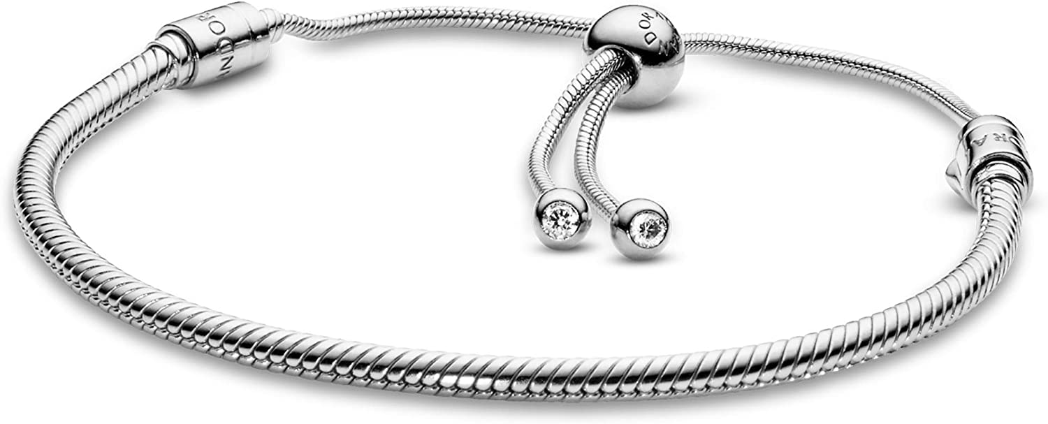 """PANDORA Jewelry Moments Slider Snake Chain Charm Cubic Zirconia Bracelet in Sterling Silver, 11.0"""""""